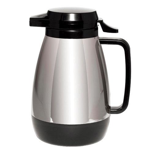 Service Ideas ML501CH/BL .6-liter Coffee Server w/ Push Button Lid, Chrome & Black