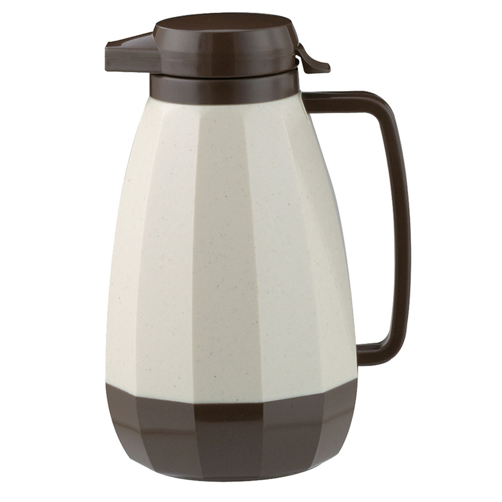 Service Ideas NG421ST/BR 2-liter Coffee Server w/ Push Button Lid, Stoneware, Brown