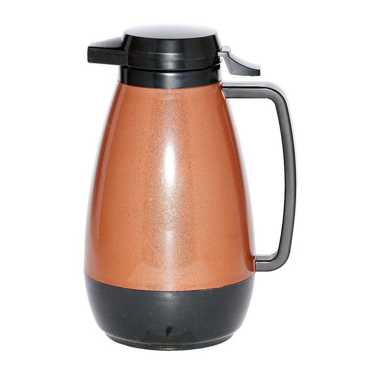 Service Ideas PB101CB 1-liter Coffee Server w/ Push-Button Lid, Copper & Black
