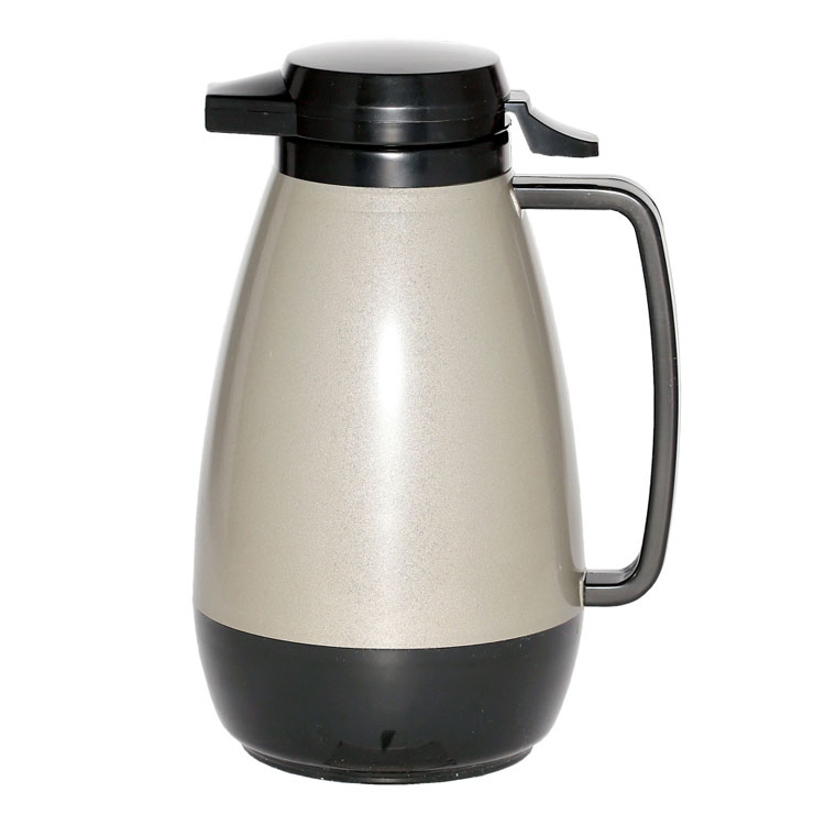 Service Ideas PB101MG 1-liter Coffee Server w/ Push-Button Lid, Metallic Gray