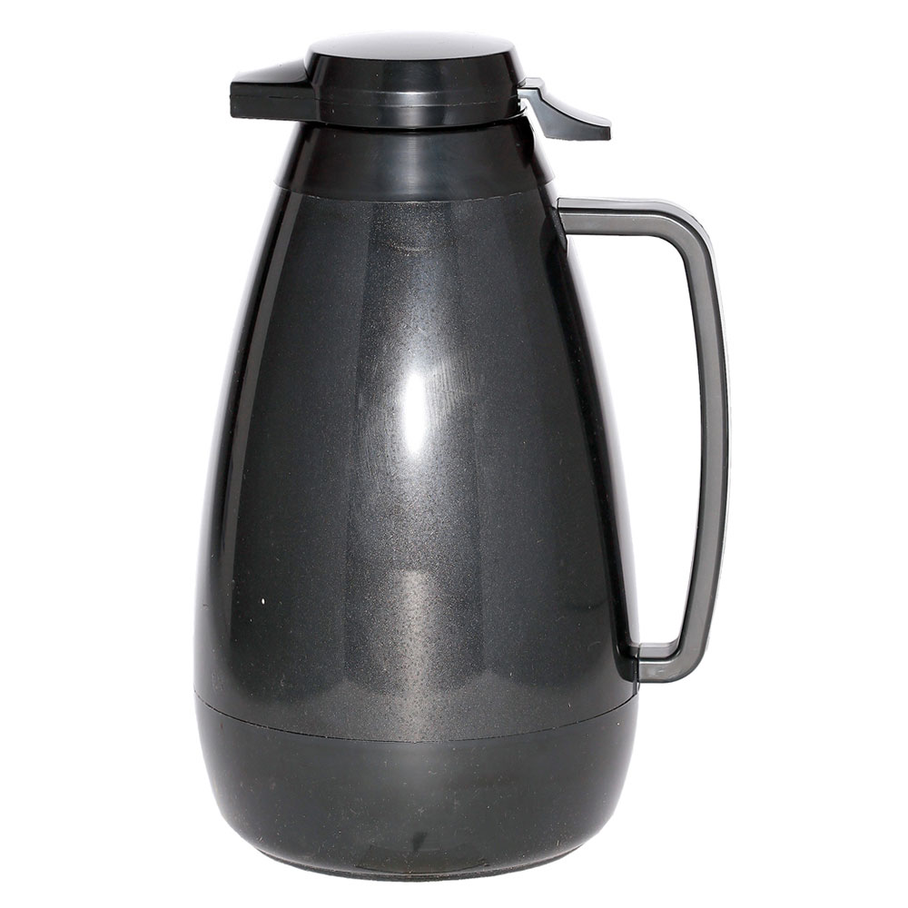 Service Ideas PB421BL 2-liter Coffee Server w/ Push-Button Lid, Smooth Body, Black