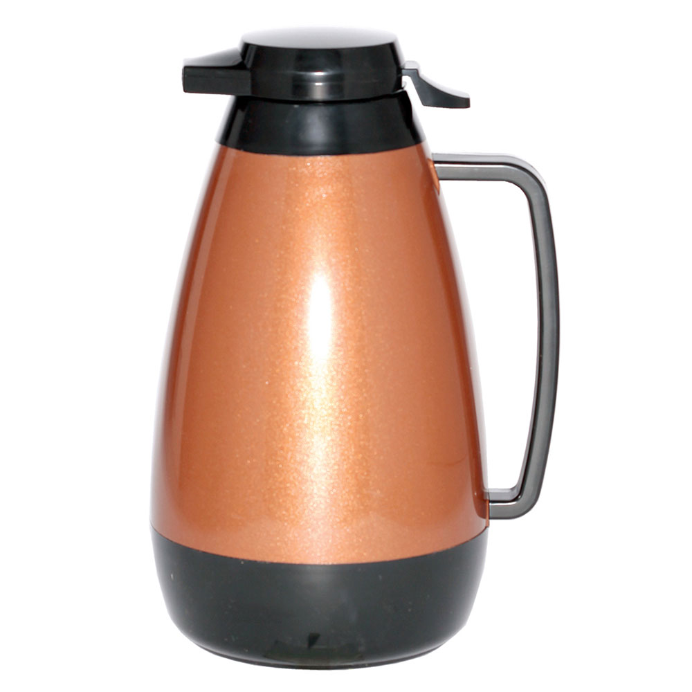 Service Ideas PB421CB 2-liter Coffee Server w/ Push-Button Lid, Copper & Black