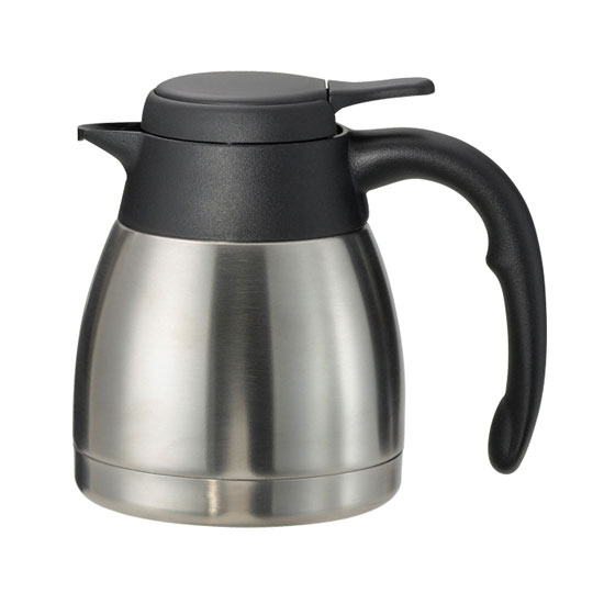 Service Ideas PWLA061 .6-liter Carafe w/ Push-Button Lid, Unbreakable Liner, Black Finish