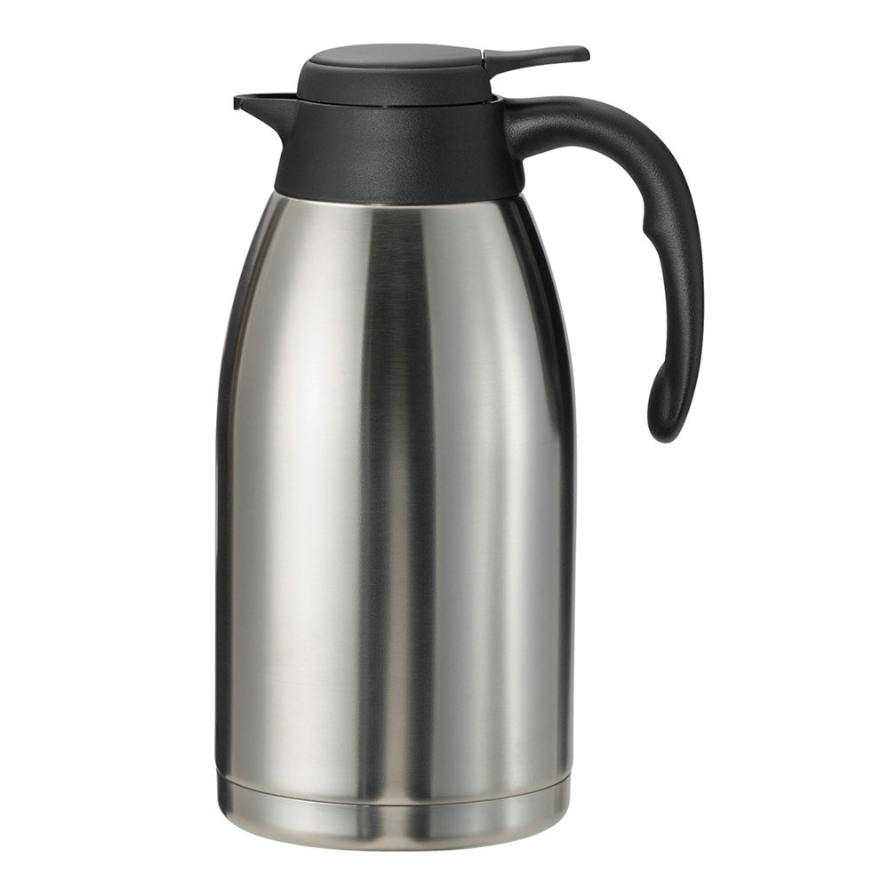 Service Ideas PWLA201 2-liter Carafe w/ Push-Button Lid, Unbreakable Liner, Black Finish
