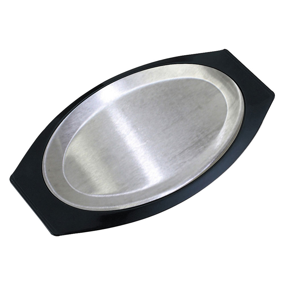 Service Ideas RO117BLAC Complete Platter Set w/ Oval Handle, Aluminum Insert, Black
