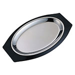 Service Ideas RO117BLC Complete Platter Set w/ Oval Handle, Stainless Insert, Black