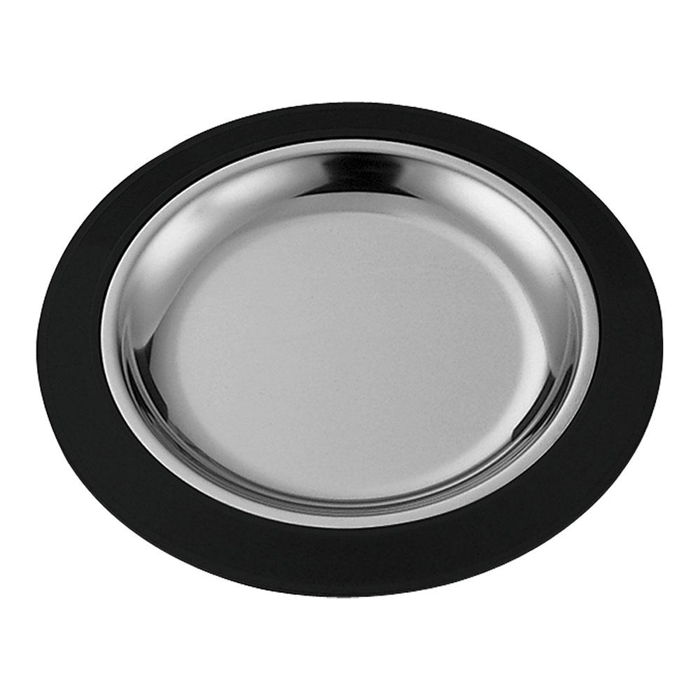 "Service Ideas RT1025BLC 10.25"" Round Complete Platter Set w/ Stainless Insert, Black"