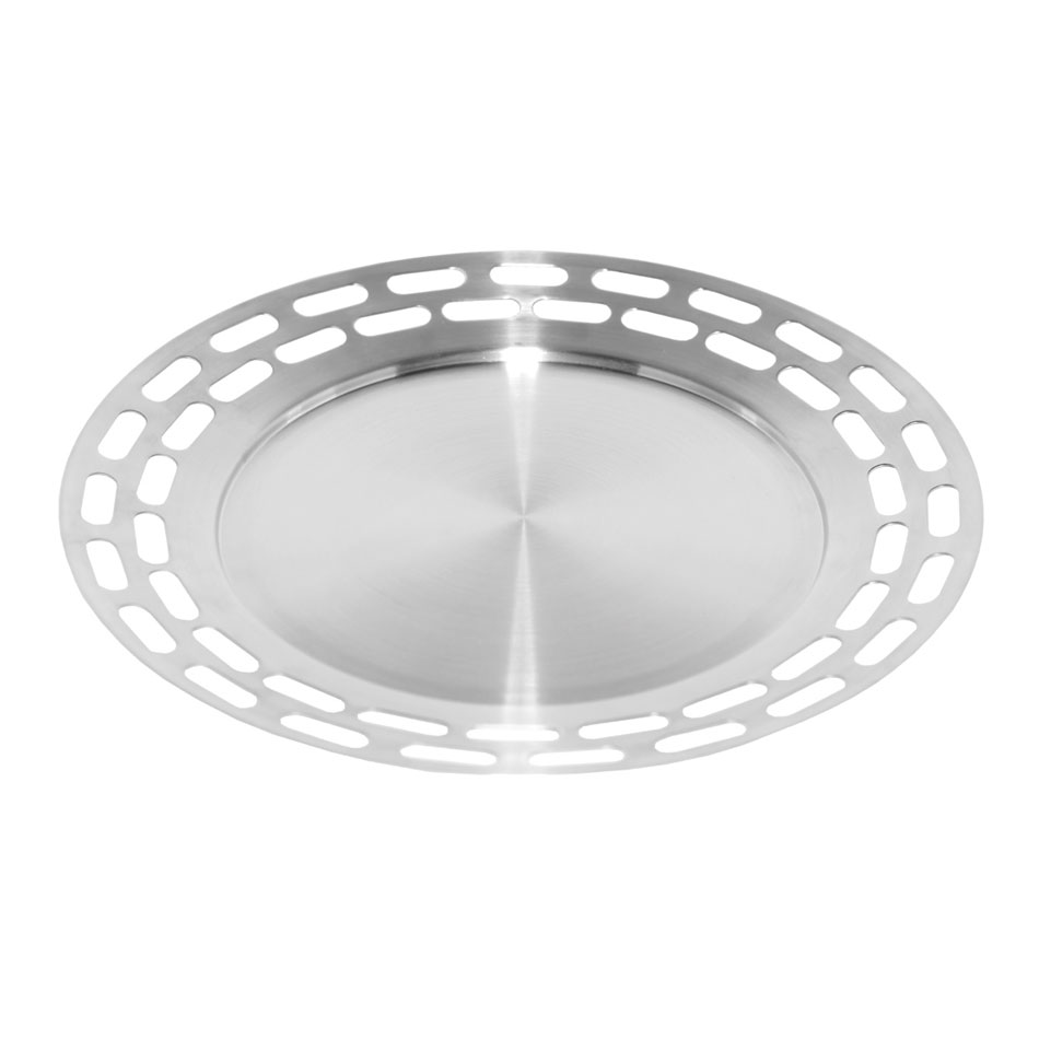 "Service Ideas SB-47 15"" Heavy Round Tray, Stainless, Brushed Finish"