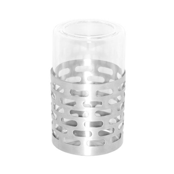 Service Ideas SB-71 Candle Holder w/ Removable Borosilicate Glass, Stainless Base, Brushed Finish
