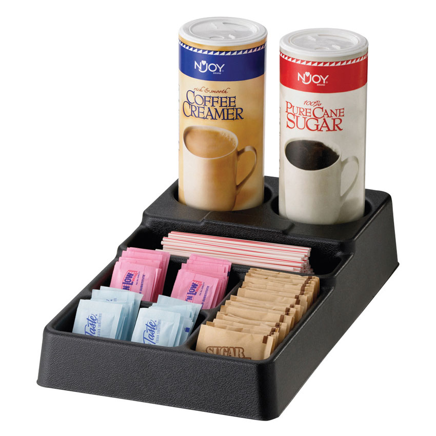 Service Ideas SC1090 Plastic Condiment Caddy w/ 6-Compartments, Black