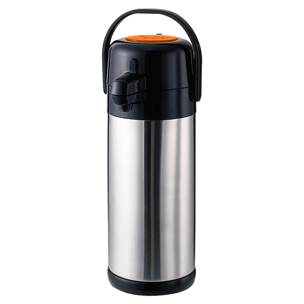 Service Ideas SECA30DS 3-liter Pump-Style Airpot w/ Orange Decaf Button - Stainless Liner, Stainless