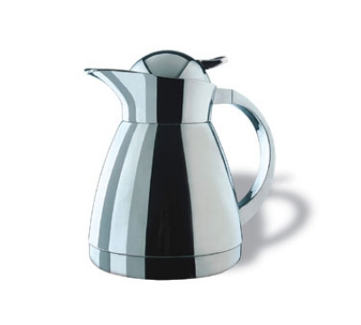 Service Ideas 0767000060 .6-liter Coffee Server w/ Push-Button Lid, Stainless, 7-in
