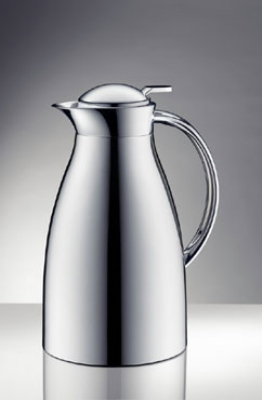 Service Ideas 3542000100 1-liter Coffee Server w/ Push-Button Lid, Chrome Exterior