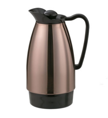 Service Ideas CGC101CP 1-liter Carafe w/ Dripless Spout, Glass Interior, Copper, Brown