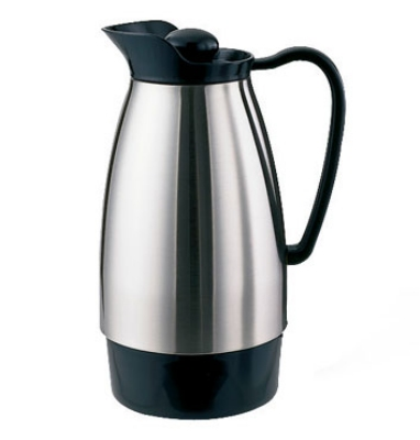 Service Ideas CGCS10SS 1-liter Carafe w/ Stainless Interior, Brushed Stainless, Black