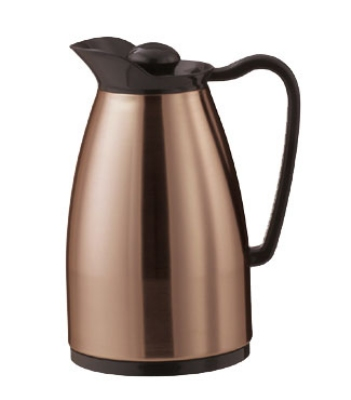 Service Ideas CGC060CP .6-liter Carafe w/ Dripless Spout, Glass Interior, Copper, Black