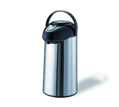 Service Ideas GLAP300 3-liter Premium Glass-Lined Airpot w/ Pump Lid, Stainless Exterior