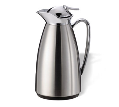 Service Ideas CJ1BS 1-liter Vacuum Carafe w/ Glass Liner, Polished Chrome