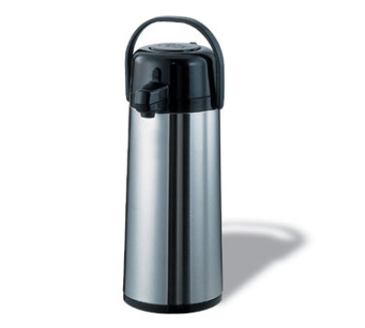 Service Ideas ECA22S 2.2-liter Pump Style Airpot w/ Glass Liner, Stainless, Black