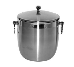 Service Ideas IB3BS 3-liter Ice Bucket, Brushed Stainless w/ Shiny Band Accent