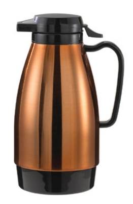 Service Ideas ML101MCPBL 1-liter Coffee Server w/ Push Button Lid, Copper & Black