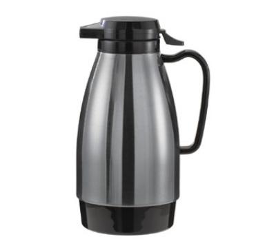 Service Ideas ML101MSSBL 1-liter Coffee Server w/ Push Button Lid, Stainless & Black