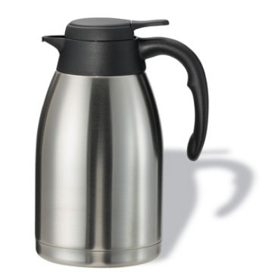 Service Ideas PWLA161 1.6-liter Carafe w/ Push-Button Lid, Unbreakable Liner, Black Finish
