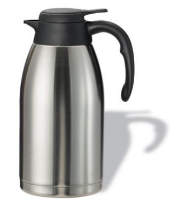 Service Ideas PWLA201 2-liter Carafe w/ Push-Button Lid, Unbreakable Liner, Black Finish