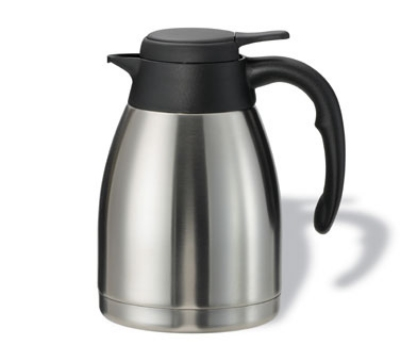 Service Ideas PWLA121 1.2-liter Carafe w/ Push-Button Lid, Unbreakable Liner, Black Finish