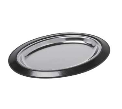 Service Ideas RO128BLC Complete Oval Platter Set w/ Stainless Insert, Stackable, Black