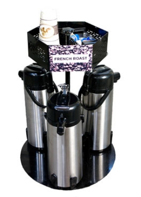 Service Ideas RRA3V2C Roto Rack w/ Signage Topper & Condiment Holder, Holds 3-Airpots