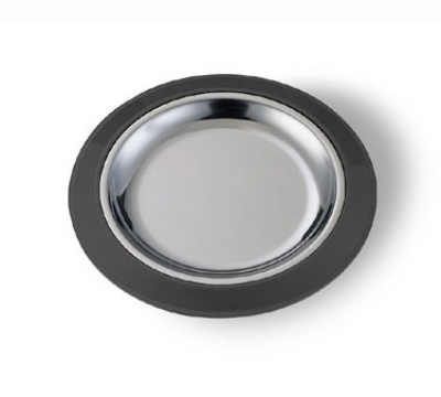 Service Ideas RT7BLC 7-in Round Complete Platter Set w/ Stainless Insert, Sloping Rim