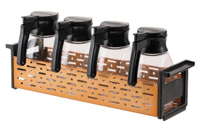 Service Ideas SZC4 Syrup Dispenser Caddy, Holds 4-Syrup Bottles, Copper & Black