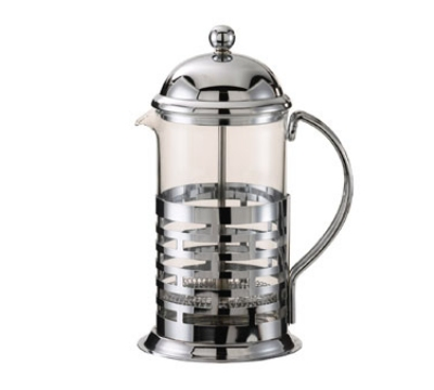 Service Ideas T277B .35-liter Coffee Press w/ Glass Liner, Brick Design, Chrome