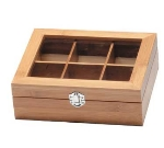 "Service Ideas TB006BN Tea Box w/ 6-Compartments, Window, 8.75 X 7.25 X 2.75"", Bamboo"