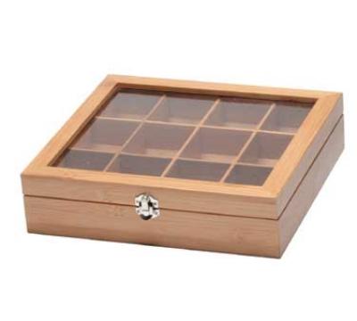 "Service Ideas TB012BN Tea Box w/ 12-Compartments, Window, 11.5 X 10.75 X 2.75"", Bamboo"