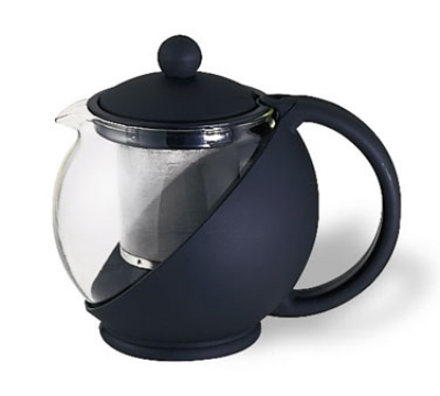 Service Ideas TB600CC .6-liter Tea Press w/ Removable Tea Basket, Glass Liner, Black