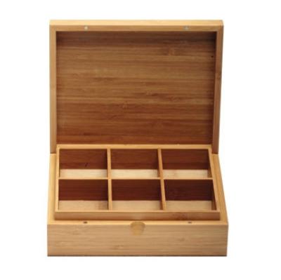 Service Ideas TBC06 6-Compartment Tea Box w/ Solid Cover, Bamboo