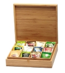Service Ideas TBC12 12-Compartment Tea Box w/ Solid Cover, Bamboo