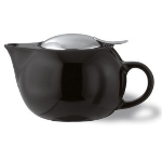 Service Ideas TPC10BL 10-oz Teapot w/ Lid, Infuser Basket, Black Ceramic