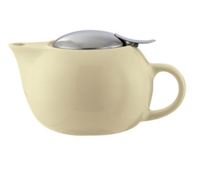 Service Ideas TPC10CM 10-oz Teapot w/ Lid, Infuser Basket, Cream Ceramic
