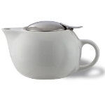 Service Ideas TPC16WH 16-oz Teapot w/ Lid, Infuser Basket, White Ceramic