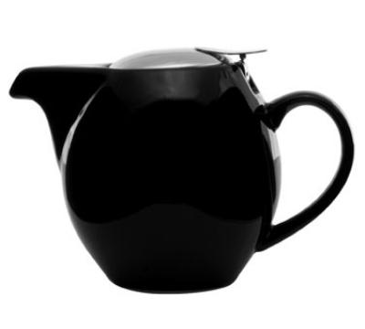 Service Ideas TPCV16BL 16-oz Oval-Style Teapot w/ Lid & Infuser Basket, Black Ceramic