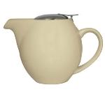 Service Ideas TPCV16CM 16-oz Oval-Style Teapot w/ Lid & Infuser Basket, Cream Ceramic