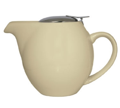 Service Ideas TPCV16CM 16-oz Oval-Style Teapot w/ Lid & Infuser Basket, Cream Ceramic