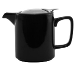 Service Ideas TPCW16BL 16-oz Washington-Style Teapot w/ Lid & Infuser Basket, Black