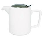 Service Ideas TPCW16WH 16-oz Washington-Style Teapot w/ Lid & Infuser Basket, White