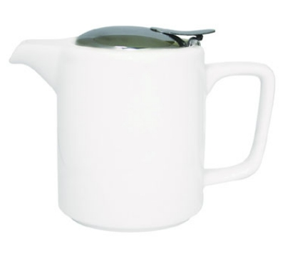 Service Ideas TPCW16WH 16-oz Washington-Style Teapot w/ Lid & Infuser Basket, White