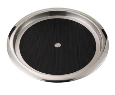 "Service Ideas TR1412SR 14"" Non-Slip Tray w/ Solid Rubber Insert, Stainless"