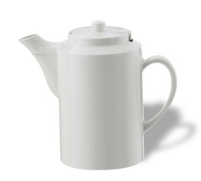 Service Ideas TST612WH 16-oz Dripless Teapot w/ Tether, Baffled Spout, Stoneware & White